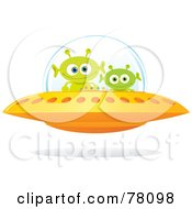 Royalty Free RF Clipart Illustration Of A Golden Flying Saucer With Two Green Alien Creatures