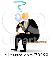 Royalty Free RF Clipart Illustration Of An Orange Faceless Businessman Searching With A Magnifying Glass by Qiun