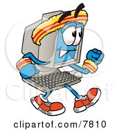 Desktop Computer Mascot Cartoon Character Speed Walking Or Jogging
