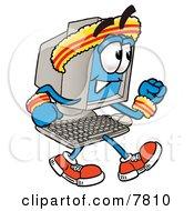 Desktop Computer Mascot Cartoon Character Speed Walking Or Jogging