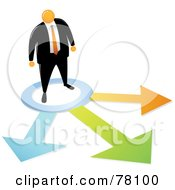 Royalty Free RF Clipart Illustration Of An Orange Faceless Businessman Facing Different Opportunities