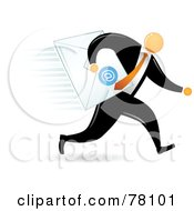 Royalty Free RF Clipart Illustration Of An Orange Faceless Businessman Delivering Email by Qiun