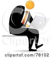 Royalty Free RF Clipart Illustration Of An Orange Faceless Businessman Sitting And Using A Laptop