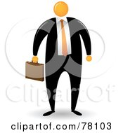 Royalty Free RF Clipart Illustration Of An Orange Faceless Businessman Carrying A Briefcase