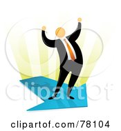 Royalty Free RF Clipart Illustration Of An Orange Faceless Businessman Celebrating And Standing On An Arrow