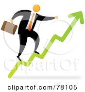Royalty Free RF Clipart Illustration Of An Orange Faceless Businessman Climbing The Arrow Steps To Success