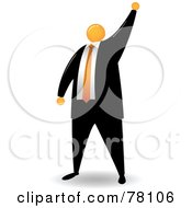 Royalty Free RF Clipart Illustration Of An Orange Faceless Businessman Holding Up His Hand