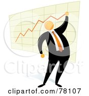 Royalty Free RF Clipart Illustration Of An Orange Faceless Businessman Drawing A Chart