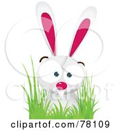 Royalty Free RF Clipart Illustration Of A Pink And White Bunny Rabbit In Grass by Qiun