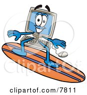 Clipart Picture Of A Desktop Computer Mascot Cartoon Character Surfing On A Blue And Orange Surfboard by Toons4Biz