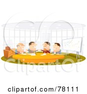 Royalty Free RF Clipart Illustration Of Four Happy Businessman Talking During A Meeting by Qiun