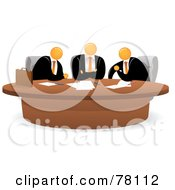 Royalty Free RF Clipart Illustration Of A Meeting Of Three Orange Faceless Businessmen Sitting At A Table by Qiun