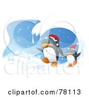 Royalty Free RF Clipart Illustration Of A Wave Of Snow Framing A Scene Of Two Penguins Wearing Santa Hats And Running In The Wniter