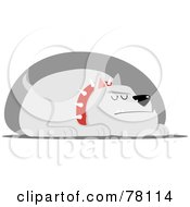 Royalty Free RF Clipart Illustration Of A Sleeping Guard Bulldog With A Spiked Collar