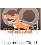 Royalty Free RF Clipart Illustration Of A Mean Brown Guard Dog Spitting While Barking And Pulling Against His Chain