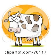 Royalty Free RF Clipart Illustration Of A Chubby Dairy Cow Sketch In Front Of The Sun by Qiun