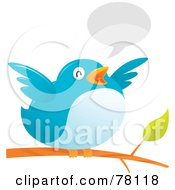 Royalty Free RF Clipart Illustration Of A Fat Bird Flapping Its Wings While Perched On A Branch With A Text Balloon
