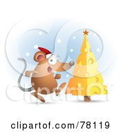 Royalty Free RF Clipart Illustration Of A Excited Mouse Wearing An Excited Mouse Wearing A Santa Hat And Running Towards His Cheese Christmas Tree by Qiun