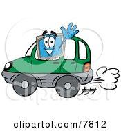 Desktop Computer Mascot Cartoon Character Driving A Green Car And Waving