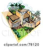 Royalty Free RF Clipart Illustration Of A Large Mediterranean House With People In The Courtyards
