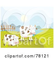 Royalty Free RF Clipart Illustration Of Two Grazing Cows In A Coastal Pasture by Qiun