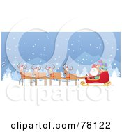 Royalty Free RF Clipart Illustration Of A Team Of Four Reindeer Wearing Hats And Pulling Kris Kringles Sleigh Through The Snow by Qiun