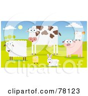 Group Of Farm Animals In A Pasture Sheep Cow Chicken Rabbit Pig And Rooster