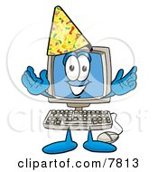 Clipart Picture Of A Desktop Computer Mascot Cartoon Character Wearing A Birthday Party Hat by Toons4Biz