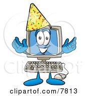 Desktop Computer Mascot Cartoon Character Wearing A Birthday Party Hat