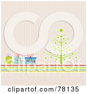 Royalty Free RF Clipart Illustration Of A Retro Christmas Tree With Colorful Presents Over Pastel Stripes