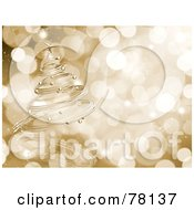 Royalty Free RF Clipart Illustration Of A Spiraled Gold Christmas Tree Over A Blurred Sparkly Light Background