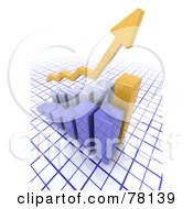 Royalty Free RF Clipart Illustration Of A Yellow 3d Arrow Over An Increasing Bar Graph