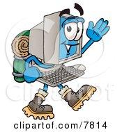 Desktop Computer Mascot Cartoon Character Hiking And Carrying A Backpack