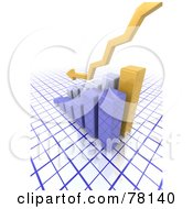 Royalty Free RF Clipart Illustration Of A Yellow 3d Arrow Over A Declining Bar Graph