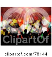Royalty Free RF Clipart Illustration Of A Silhouetted Dancing Party Crowd Against Colorful Sparkles