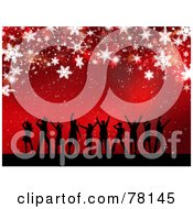 Royalty Free RF Clipart Illustration Of A Red Christmas Background Of People Dancing Under Snowflakes