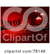 Royalty Free RF Clipart Illustration Of A Gradient Red Christmas Party Background With Dancers Waves And Frosted Ornaments