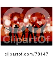 Royalty Free RF Clipart Illustration Of A Group Of Silhouetted Christmas Party Dancer People Against Red Sparkles