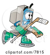 Desktop Computer Mascot Cartoon Character Playing Ice Hockey
