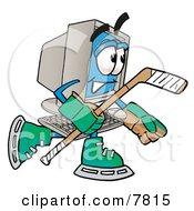Desktop Computer Mascot Cartoon Character Playing Ice Hockey