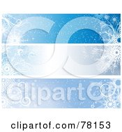 Royalty Free RF Clipart Illustration Of A Digital Collage Of Shiny Blue Winter Snowflake Christmas Website Banners