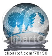 Royalty Free RF Clipart Illustration Of A Blue Snowy Winter Scene In A Snow Globe