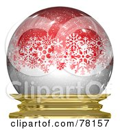 Royalty Free RF Clipart Illustration Of White Snowy Winter Snowflakes In A Red Snow Globe by Arena Creative