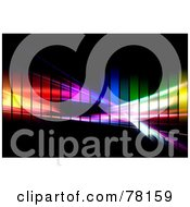 Royalty Free RF Clipart Illustration Of A Colorful Pixel Rainbow Fractal Swoosh On Black by Arena Creative