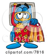 Desktop Computer Mascot Cartoon Character In Orange And Red Snorkel Gear