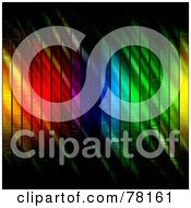 Royalty Free RF Clipart Illustration Of A Vertically Lined Rainbow Stripe Background With Grungy Light Alterations