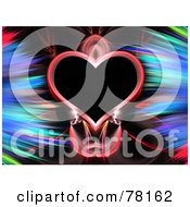 Royalty Free RF Clipart Illustration Of A Heart Framed With Colorful Feathery Fractals On Black by Arena Creative