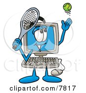 Desktop Computer Mascot Cartoon Character Preparing To Hit A Tennis Ball