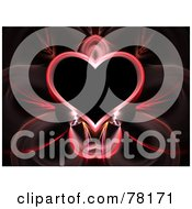 Elegant Pink Heart Fractal On Black