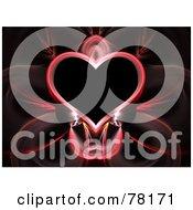 Royalty Free RF Clipart Illustration Of A Elegant Pink Heart Fractal On Black